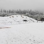 Das war der Zustand beim Aufbau: das Grundgerüst des ersten Zeltes versinkt im Schnee...