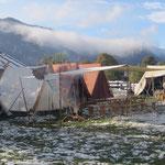 Das Lager steht, der Schnee wird weniger.