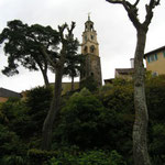 The Campanile - Standing 80 feet high, its chiming turret-clock (c.1822) was salvaged from a London brewery. The Campanile has the distinction of being the only structure in Portmeirion to be built by Sir Clough from a full set of plans.