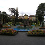 The Piazza was originally a tennis court. Since 1966, when Portmeirion celebrated its 40th anniversary, the piazza has been a level paved area with a blue tiled pond and fountain surrounded by flower beds.