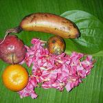 バナナ葉がお皿。神へのプラサード。南インドケララのアシュラムで。
