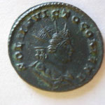 Revers: SOLI INVICTO COMITI , buste radié et hab du soleil ) droite, Trêves mai 309-juin 313, 3e ém, rare, TTB+