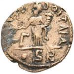 Revers: AƆ – ƆOITNA / Γ dans le champ à gauche / . SR, TTB curieuse légende inversée. Savoca coins 25 août 2018 n° 985