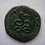 Avers: buste affrontés de Sévère Alexandre et Julia Maesa, Revers: Serpent tête levée, TTB