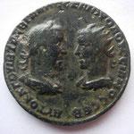 grand bronze (29 mm) d'Antioche sur l'Oronte (Syrie), 16.46 g, Bustes affrontés de Trébonien Galle et de Volusien, TB+ très rare (RR)