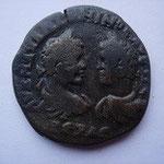 Pentassaria de bronze Marcianopolis, 12.05 g, Avers: bustes affrontés de Caracalla à g et Geta à Dr,