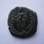 Revers: Hermes debout à gauche tenant une bourse et un caducée, SUP, splendide patine verte