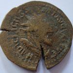 double sesterce, frappe barbare, diam: 32/34mm, 16,46g, double frappe (très vieille coll, étiquette attribue à Gallien, empe en titre)