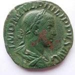 sesterce Philippe II Auguste, 13.76 g, Rome 3e off 249, Avers: IMP M IVL PHILIPPVS AVG