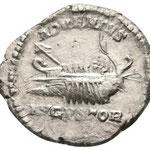 Revers: ADVENTVS AVGVSTOR, une galère avec Caracalla, Septime Sévère et Geta, rare (R2), TTB