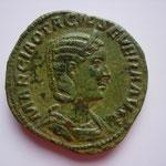 sesterce, Rome 249, 4e officine, 17,74 g, Avers:  MARCIA OTACIL SEVERA AVG, belle patine verte