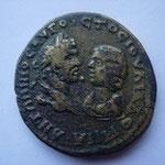 Pentassaria de bronze, Marcianopolis, 12.74 g, entre 213 et 217, Avers: bustes affrontés de Caracalla et Julia Domna