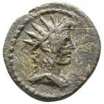 petit bronze, Phrygie-Peltaï, 2.45 g, 15 mm.  Entre 200 et 270. Cité pseudo autonome, Avers: buste à droite d'Apollon radié