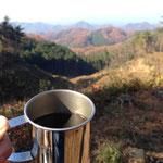 桜峠でコーヒータイム