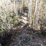 岩場の尾根道