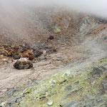 山肌からシューシューと二酸化硫黄が吹き出ていました