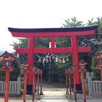加波山神社前で登山祈願