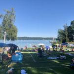 Blick auf den Starnberger See im Strandbad Feldafing