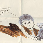 drawing dideric and cat by marjolein