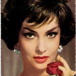 gina lollobrigida + red rose