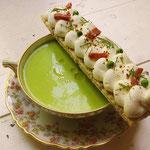 Gaspacho de petit pois, mouillette de chèvre frais, Entrée gourmande