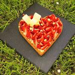 Tarte aux fraises, crème pralinée, Gâteau Saint-Valentin