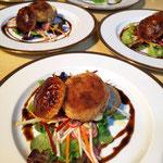 Feuilletté de chèvre croutillant, salade de légumes croquant, Entrée gourmande