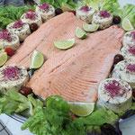 Filet de truite des Pyrénées cuit basse température, Flan de légumes de saison, Traiteur buffet froid