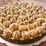 Tarte au citron, sablé et meringue au chocolat