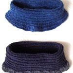 長野県M.Oさま-4 こちら、私も先日挑戦してみた「世界のかわいい編みもの」に写真が載っていたネックウォーマー、M.Oさまも早くも2点も!作られています。上はロピー、下はbrooklyntweed SHELTERを使用で裾をかぎ針編みで飾ってくださいました。ご本人曰く、「この形はあまり張りの無い糸の方がいいかも」だそう。確かに、首に添うようなこのフォルムは柔らかめのほうが再現しやすいかもしれません。私の使用糸はちなみにウール/コットンのくたりとした糸でした。