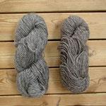 左:ゴットランド紡績所のミディアムグレー、右:イーレのミディアムグレー