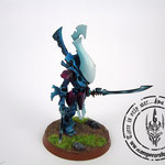 Eldar wraithblades painted blue with ghost swords