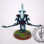Eldar wraithblades painted blue with  ghostswords