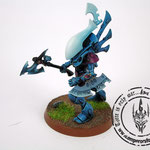 Eldar wraithblades painted blue with ghost axe and forceshield