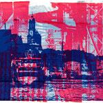 Blaue Landungsbrücken auf roter Collage