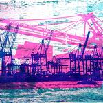 Hafenkräne, Tollerort und Meeresrauschen, Blau, Neonpink und Petrol, 70 x 100 cm