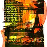 Schwarze Collage auf gelb-rot