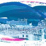 Speicherstadtbrücke und Elbphilharmonie Weiß auf Blau und Pink, 30 x 21 cm