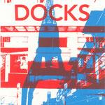 Docks rot auf Ostkai blau