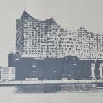 Elbhilhamronie seitwärts, grau, 42 x 60 cm