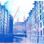 Speicherstadt Blauf auf Dock 11 Rosa-Grau, 30 x 21 cm