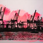 Hafenkräne Schwarz auf Neonrot, 70 x 100 cm