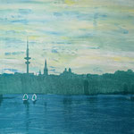 Alstersilhouette Petrol, 65 x 95 cm, Siebdruck auf Leinwand