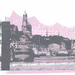 Landungsbrücken Anthrazit auf Elbphilharmonie Rosa-Grau, 30 x 21 cm