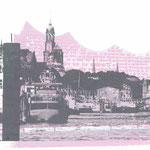 Landungsbrücken Anthrazit auf Elbphilharmonie Rosa-Grau, 30 x 21 cm - verkauft
