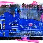Blaue Landungsbrücken auf schwarzer Collage und pink, 50 x 65 cm