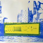 Dadadadaaa, blau und gelb, 70 x 100 cm