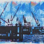 Dock 11 Schwarz auf Blau, 21 x 29 cm - verkauft