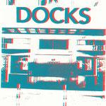 Docks türkis auf rot, 21 x 29 cm - verkauft