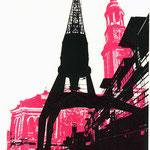 Ostkai schwarz auf pinkem Michel